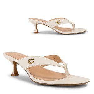 Coach Audree Leather Sandal in Chalk